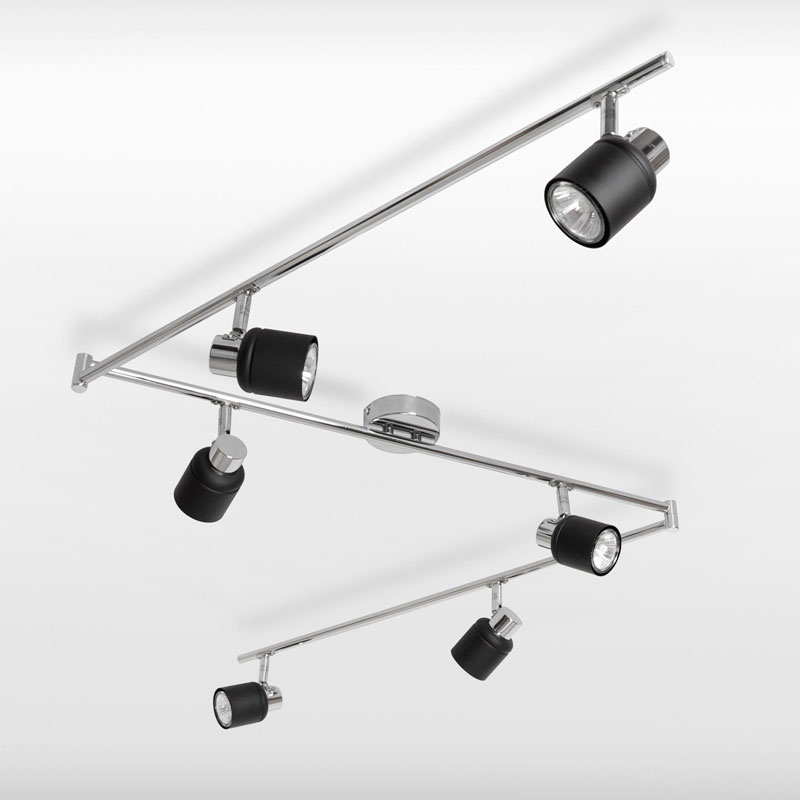 Kitchen Ceiling Lights Spotlights: Modern Silver Chrome Black 6 Way Kitchen Ceiling Light